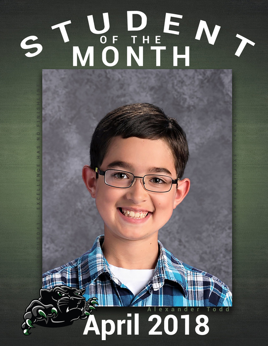 Congratulations to Alexander Todd  on Student of the Month - MS
