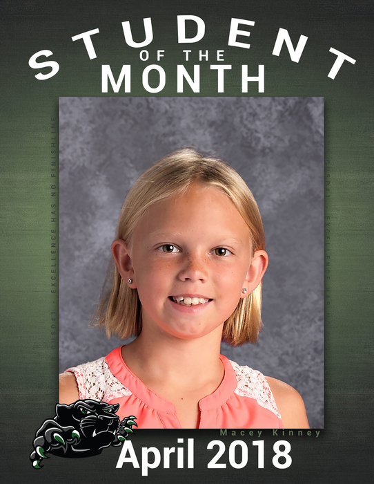 Congratulations to Macey Kinney on Student of the Month - ES
