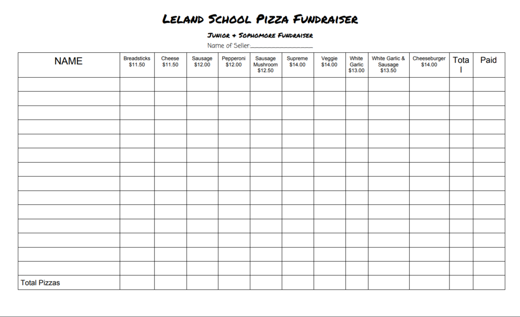 Class of 2023 pizza order form