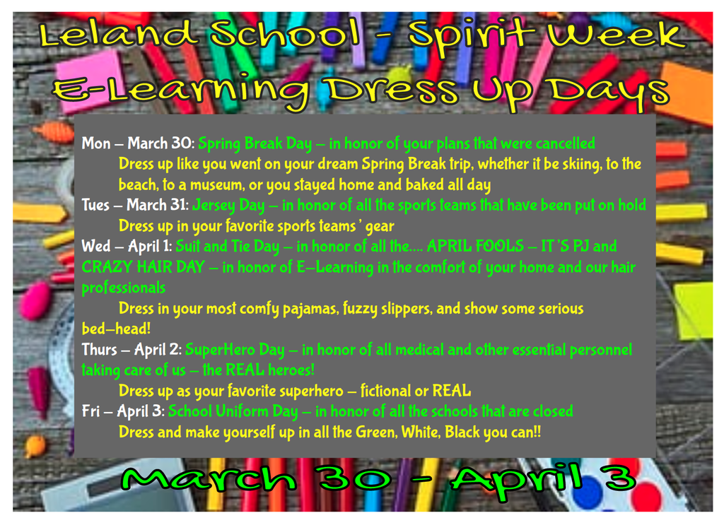 E-learning dress up days