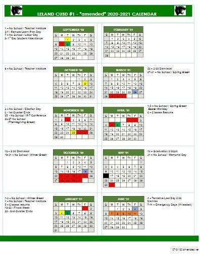 2020-2021 Amended Calendars